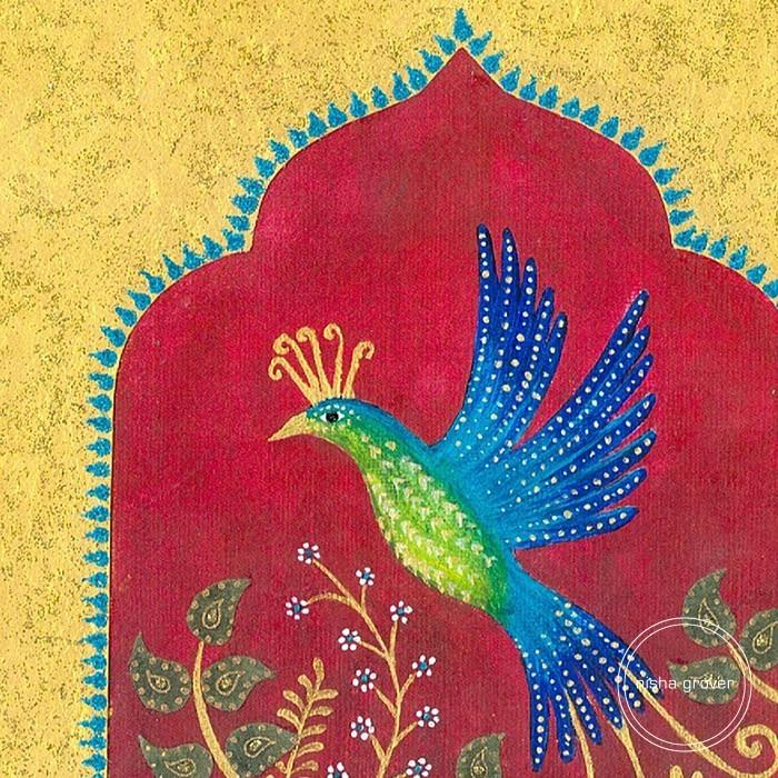 Indian Bird in Golden Archway