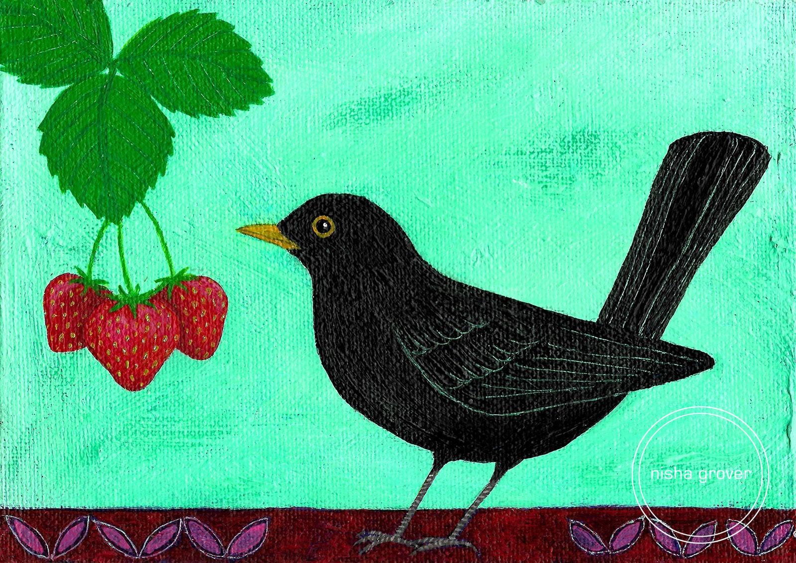 Blackbird with strawberries