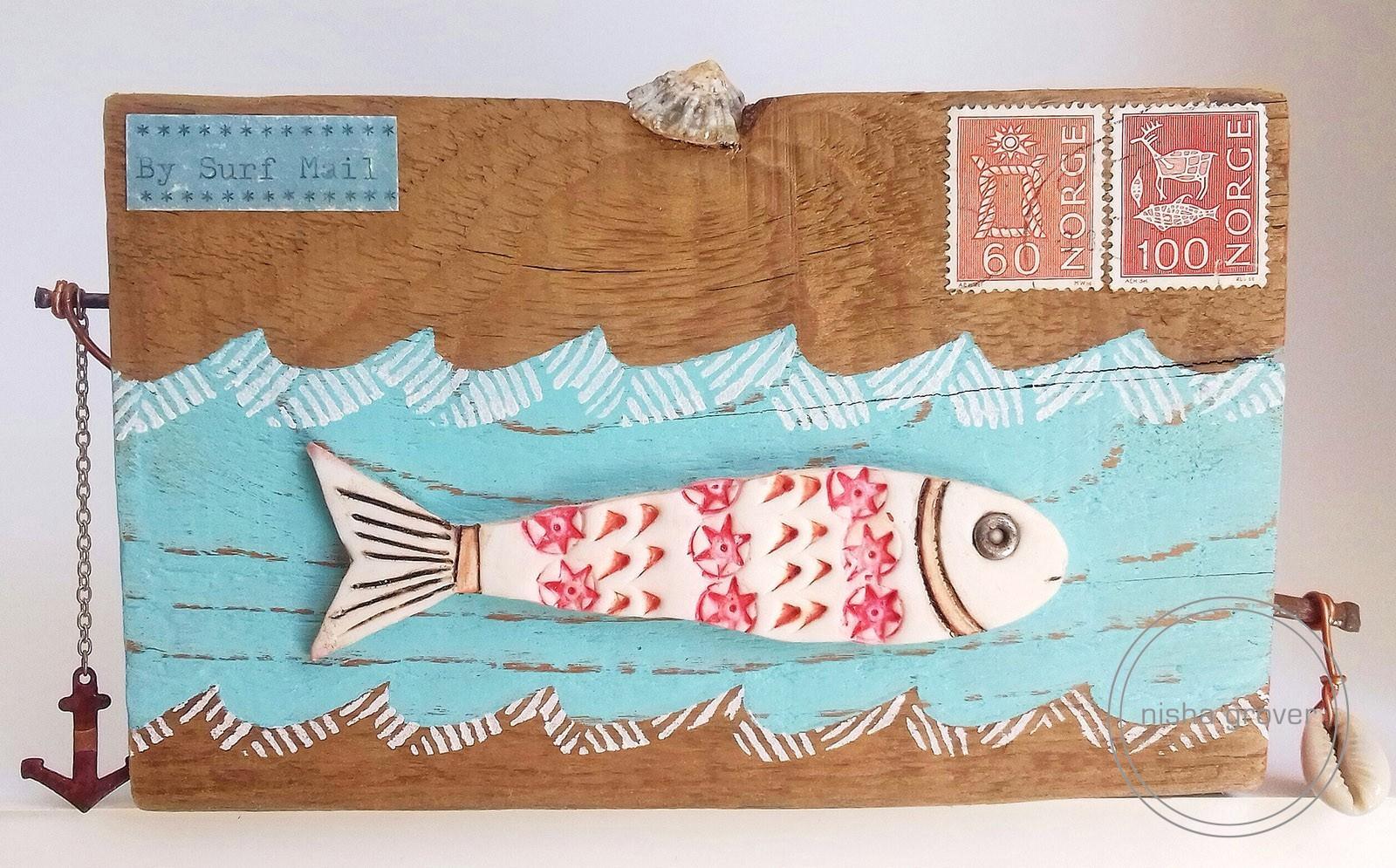 Surf postcard on wood